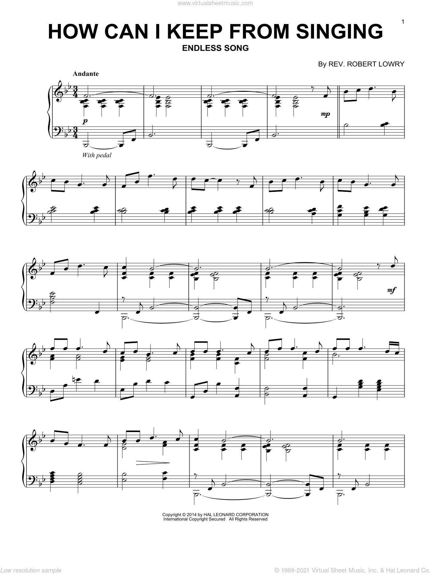 How Can I Keep From Singing sheet music for piano solo by Robert Lowry, intermediate