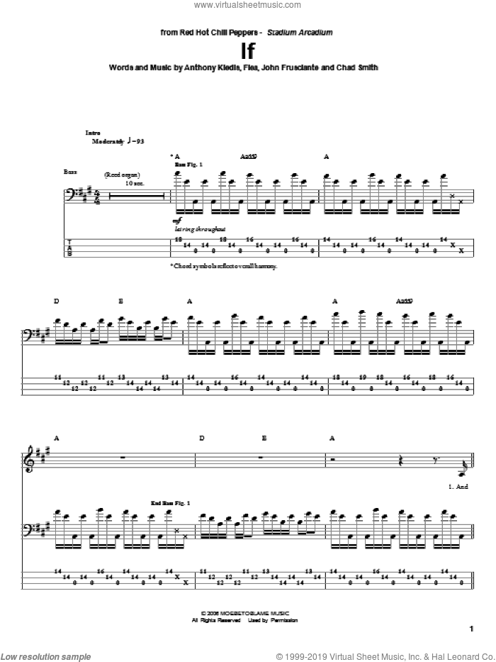 If sheet music for bass (tablature) (bass guitar) by Red Hot Chili Peppers, Anthony Kiedis, Chad Smith, Flea and John Frusciante, intermediate skill level