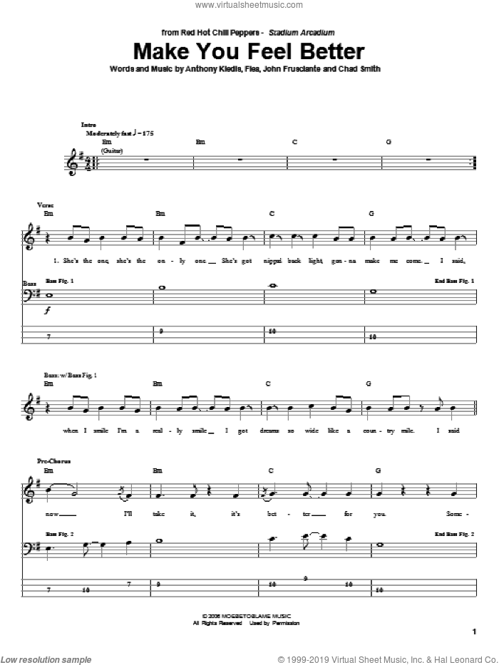 Make You Feel Better sheet music for bass (tablature) (bass guitar) by John Frusciante
