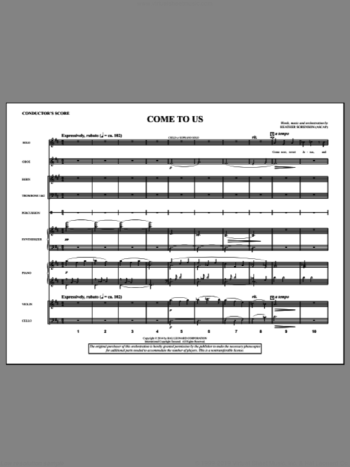 Come to Us (COMPLETE) sheet music for orchestra/band by Heather Sorenson, intermediate orchestra/band. Score Image Preview.
