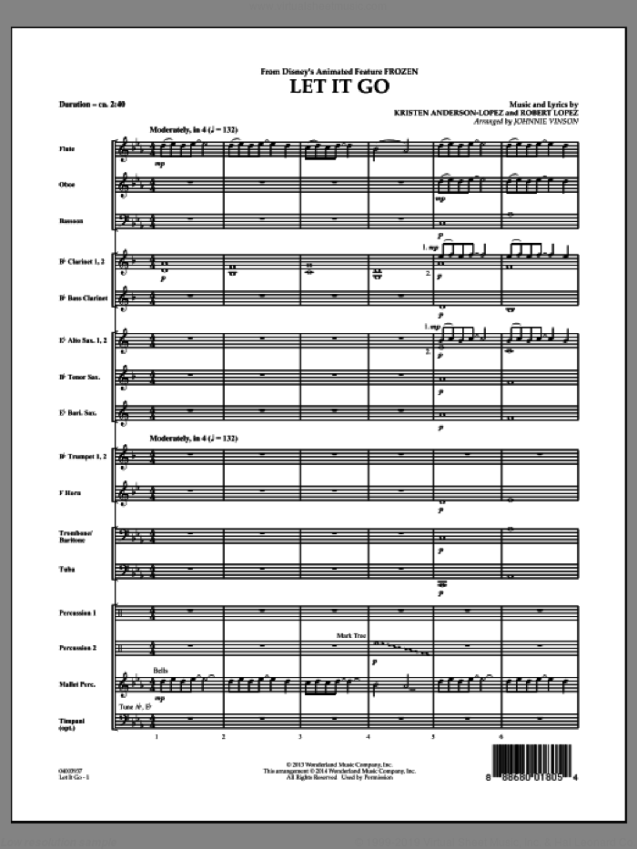 Let It Go (from Frozen) (COMPLETE) sheet music for concert band by Robert Lopez, Idina Menzel, Johnnie Vinson and Kristen Anderson-Lopez, intermediate skill level