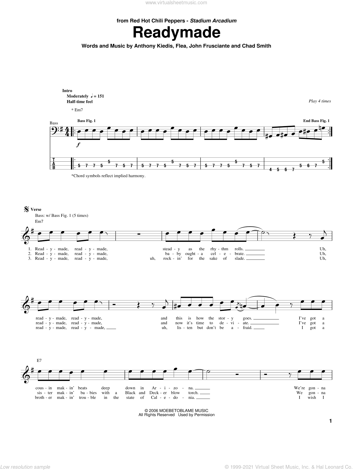 Readymade sheet music for bass (tablature) (bass guitar) by Red Hot Chili Peppers, Anthony Kiedis, Chad Smith, Flea and John Frusciante, intermediate. Score Image Preview.