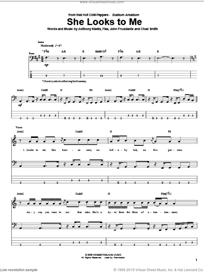 She Looks To Me sheet music for bass (tablature) (bass guitar) by John Frusciante, Red Hot Chili Peppers and Flea. Score Image Preview.