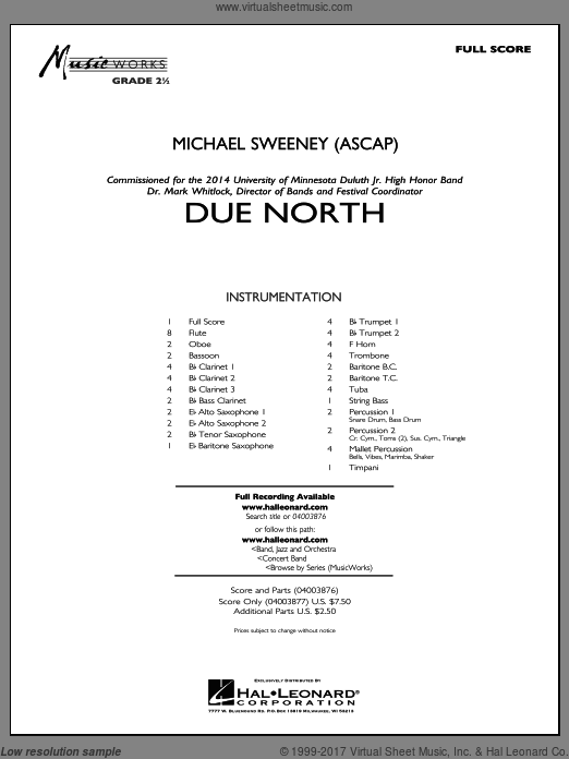 Due North (COMPLETE) sheet music for concert band by Michael Sweeney