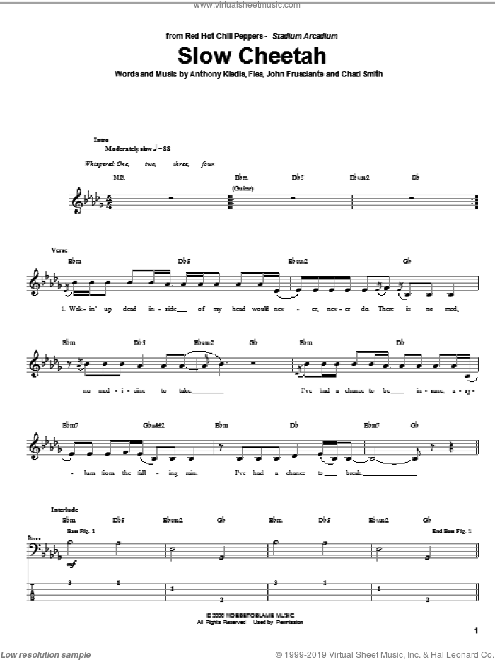 Slow Cheetah sheet music for bass (tablature) (bass guitar) by John Frusciante, Red Hot Chili Peppers and Flea. Score Image Preview.