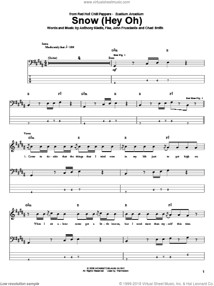 Snow (Hey Oh) sheet music for bass (tablature) (bass guitar) by Red Hot Chili Peppers, intermediate. Score Image Preview.