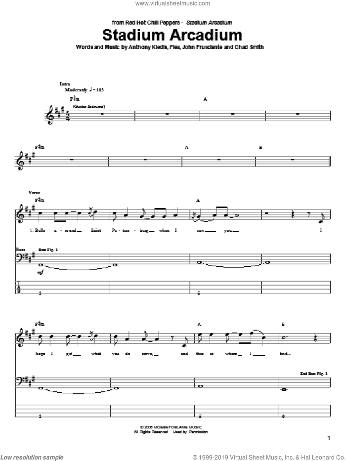 Stadium Arcadium sheet music for bass (tablature) (bass guitar) by Red Hot Chili Peppers, Anthony Kiedis, Chad Smith, Flea and John Frusciante, intermediate