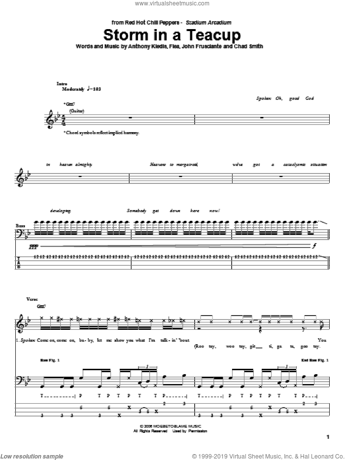 Storm In A Teacup sheet music for bass (tablature) (bass guitar) by John Frusciante, Red Hot Chili Peppers and Flea. Score Image Preview.