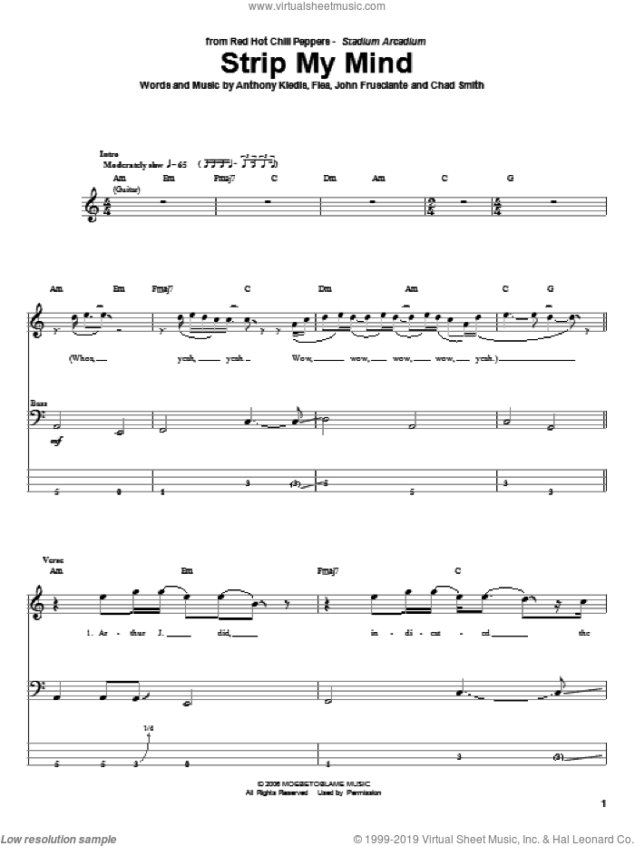 Strip My Mind sheet music for bass (tablature) (bass guitar) by John Frusciante, Red Hot Chili Peppers and Flea. Score Image Preview.