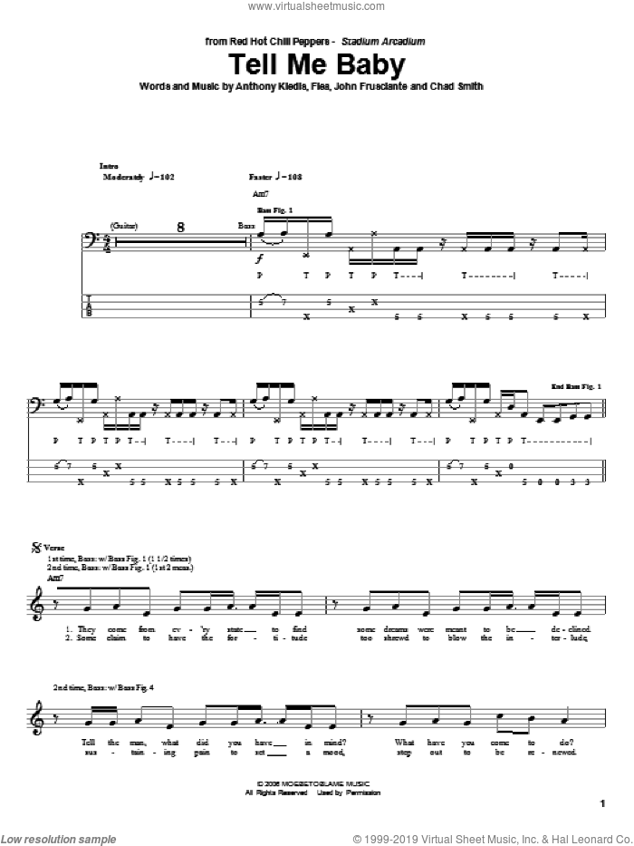 Tell Me Baby sheet music for bass (tablature) (bass guitar) by John Frusciante, Red Hot Chili Peppers and Flea. Score Image Preview.