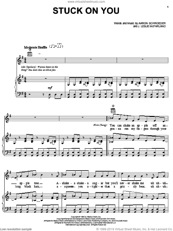 Stuck On You sheet music for voice, piano or guitar by Elvis Presley, Lilo & Stitch (Movie), Aaron Schroeder and J. Leslie McFarland, intermediate skill level