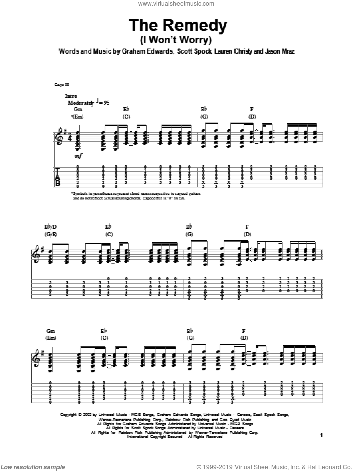 The Remedy (I Won't Worry) sheet music for guitar (tablature, play-along) by Jason Mraz, Graham Edwards, Lauren Christy and Scott Spock, intermediate