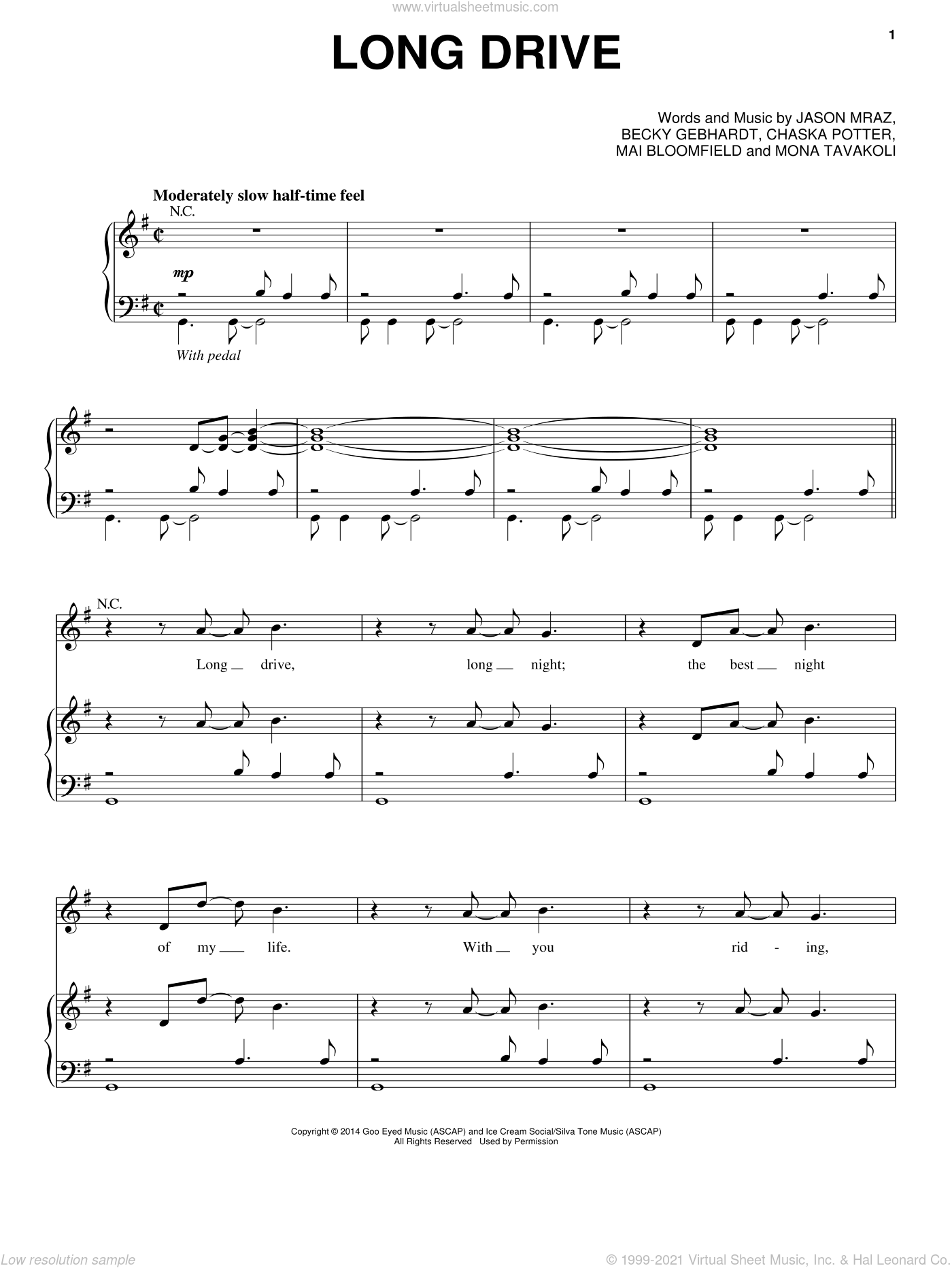 Long Drive sheet music for voice, piano or guitar by Mona Tavakoli and Jason Mraz. Score Image Preview.