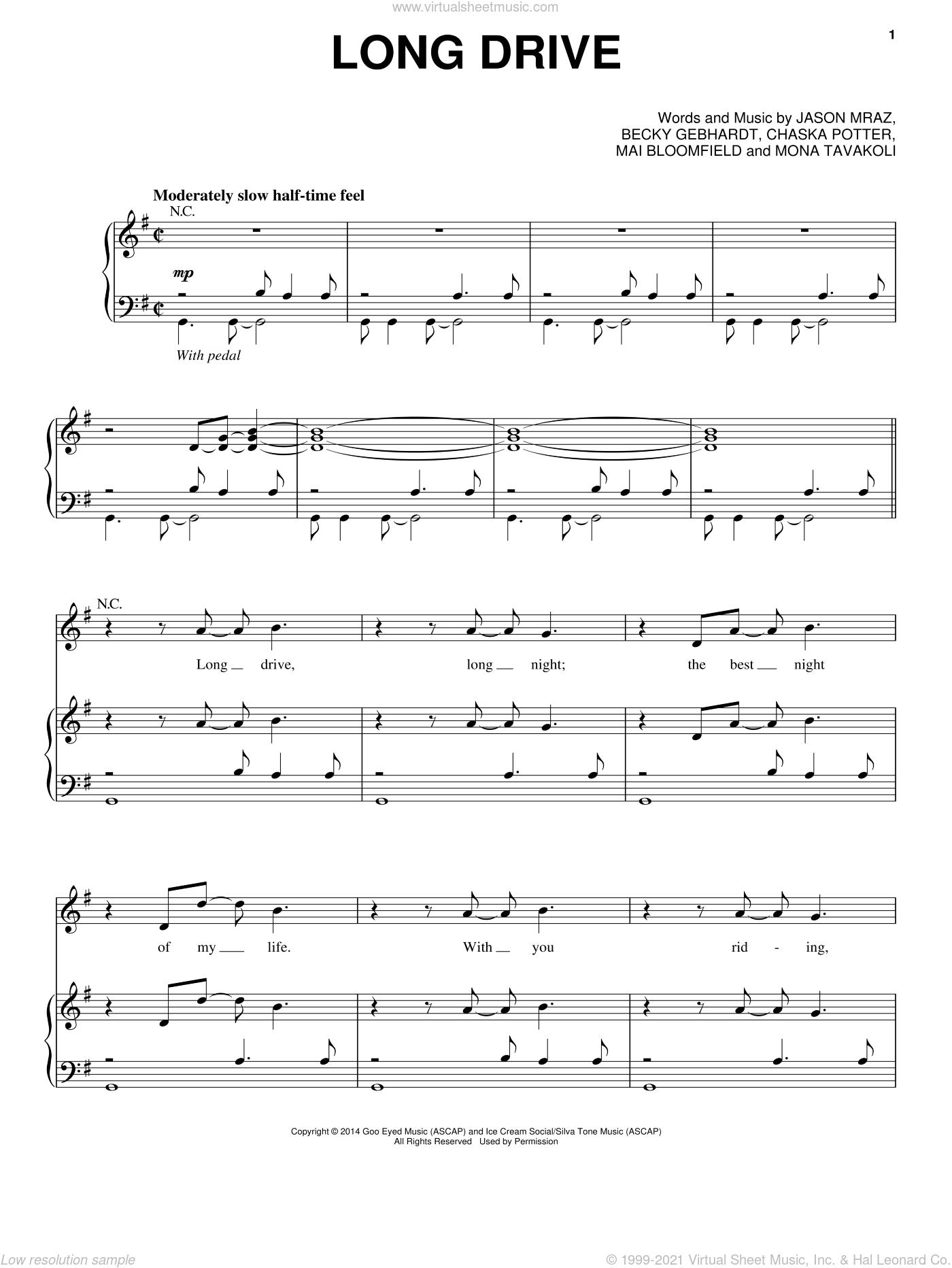 Long Drive sheet music for voice, piano or guitar by Jason Mraz, Becky Gebhardt, Chaska Potter, Mai Bloomfield and Mona Tavakoli, intermediate skill level