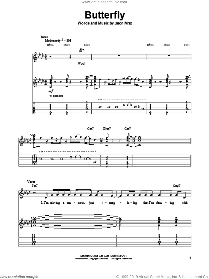 Butterfly sheet music for guitar (tablature, play-along) by Jason Mraz. Score Image Preview.
