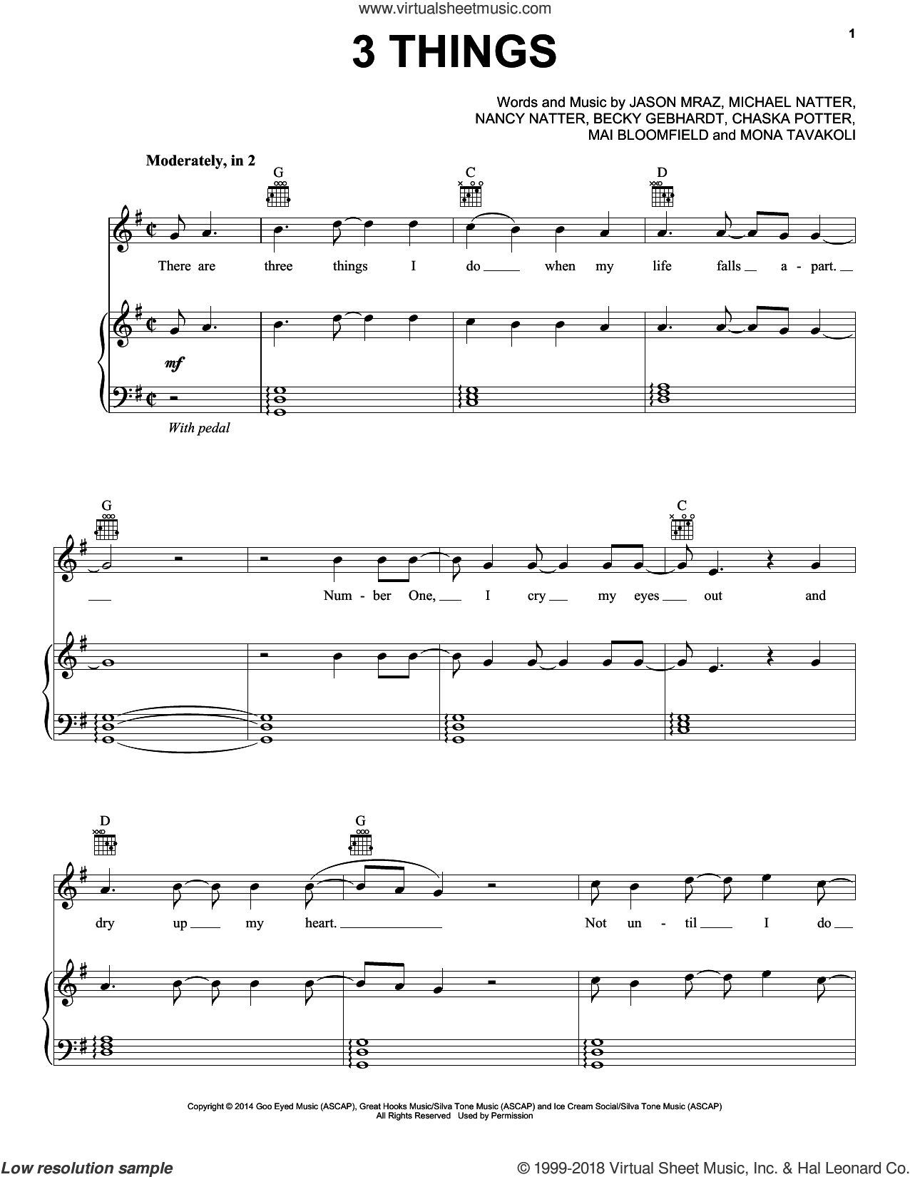 3 Things sheet music for voice, piano or guitar by Nancy Natter, Jason Mraz, Michael Natter and Mona Tavakoli. Score Image Preview.