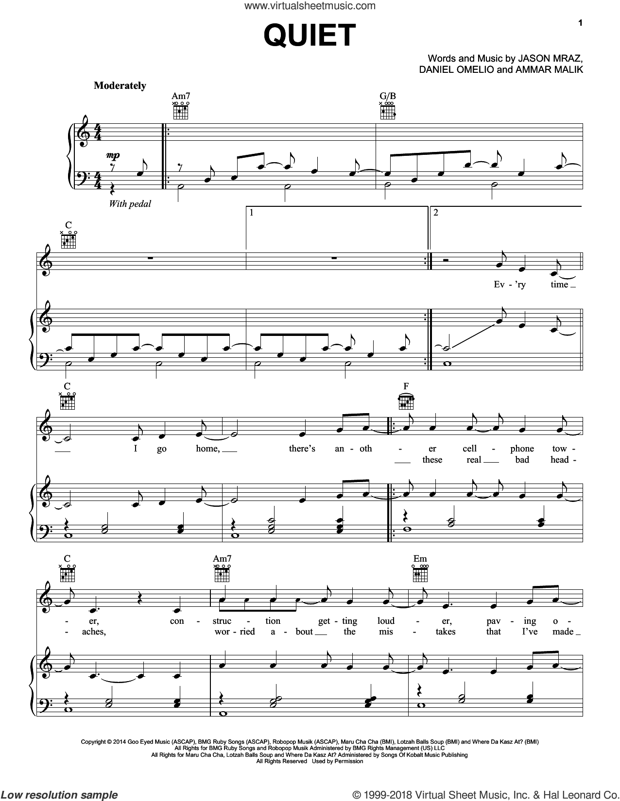 Quiet sheet music for voice, piano or guitar by Jason Mraz, Ammar Malik and Daniel Omelio, intermediate skill level