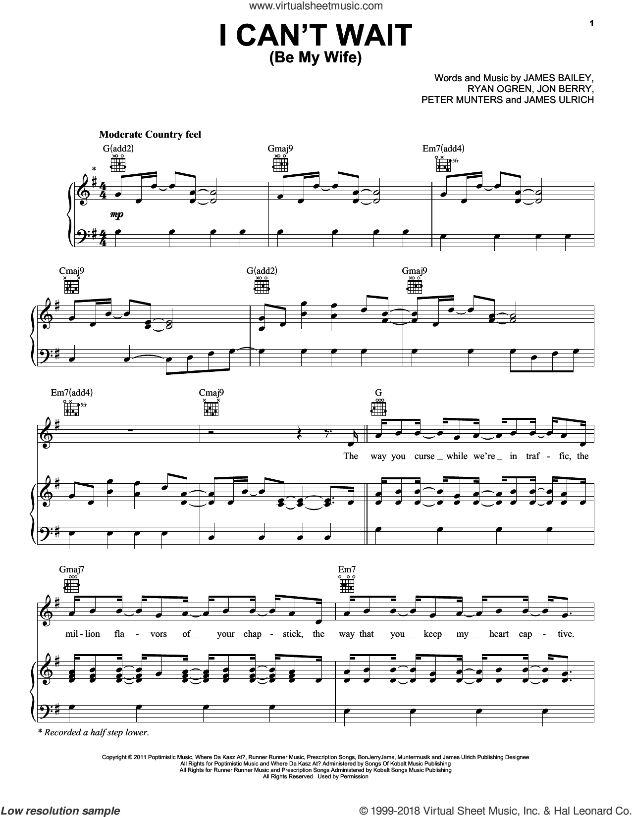 I Can't Wait (Be My Wife) sheet music for voice, piano or guitar by Ben Rue. Score Image Preview.