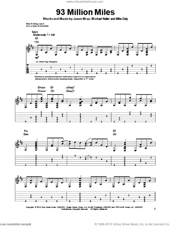 93 Million Miles sheet music for guitar (tablature, play-along) by Mike Daly, Jason Mraz and Michael Natter. Score Image Preview.