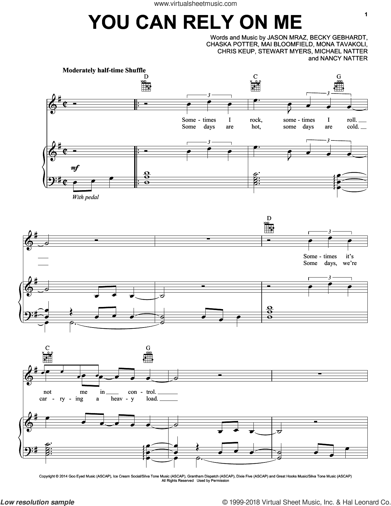You Can Rely On Me sheet music for voice, piano or guitar by Jason Mraz, Becky Gebhardt, Chaska Potter, Chris Keup, Mai Bloomfield, Michael Natter, Mona Tavakoli, Nancy Natter and Stewart Myers, intermediate skill level