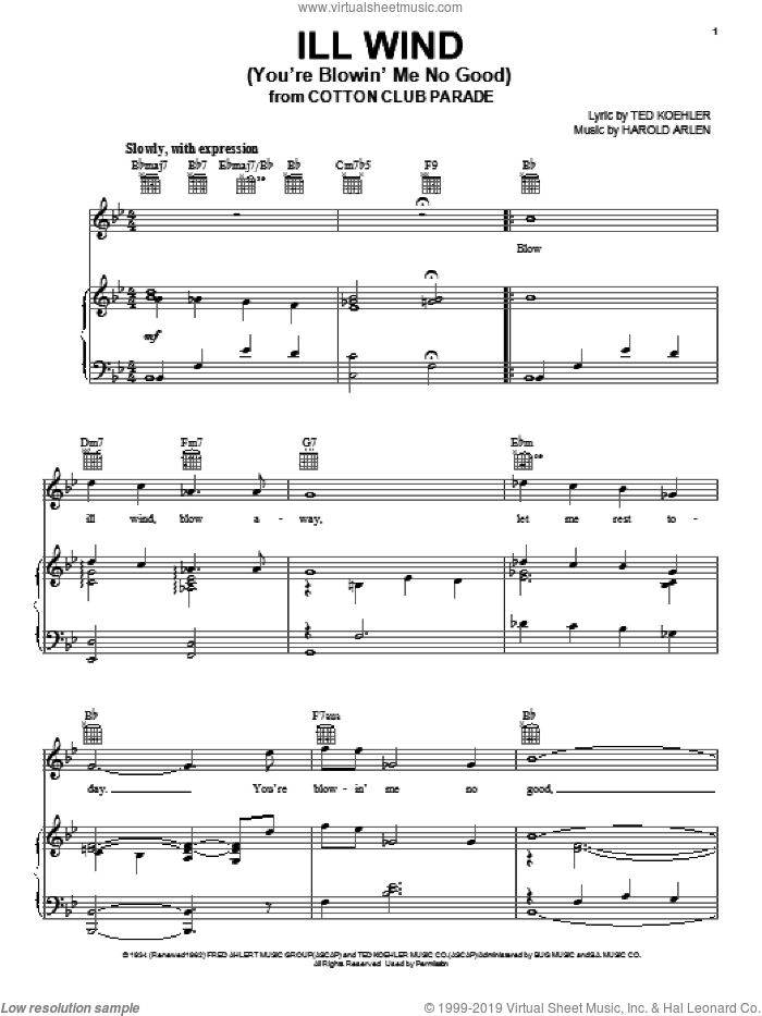 Ill Wind (You're Blowin' Me No Good) sheet music for voice, piano or guitar by Harold Arlen and Ted Koehler, intermediate skill level