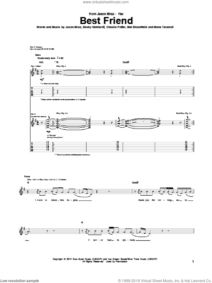 Best Friend sheet music for guitar (tablature) by Jason Mraz, intermediate guitar (tablature). Score Image Preview.
