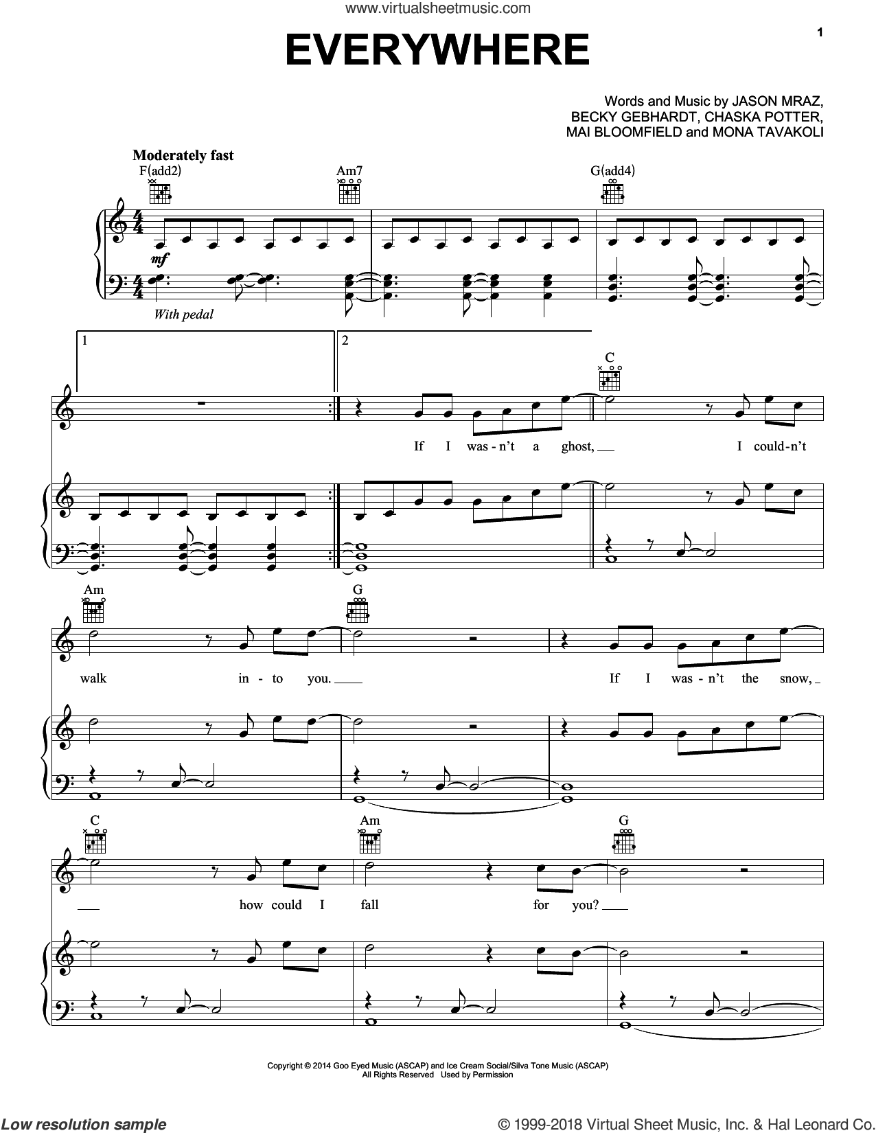 Everywhere sheet music for voice, piano or guitar by Jason Mraz, Becky Gebhardt, Chaska Potter, Mai Bloomfield and Mona Tavakoli, intermediate