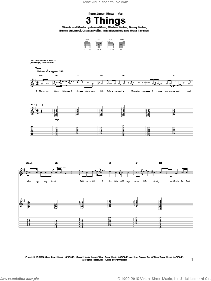 3 Things sheet music for guitar (tablature) by Jason Mraz. Score Image Preview.