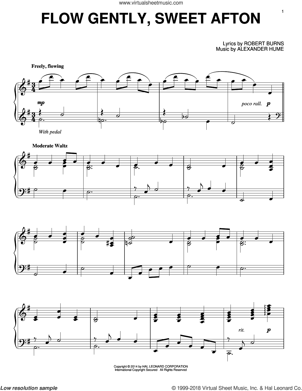 Flow Gently, Sweet Afton sheet music for piano solo by Robert Burns and Alexander Hume, intermediate skill level
