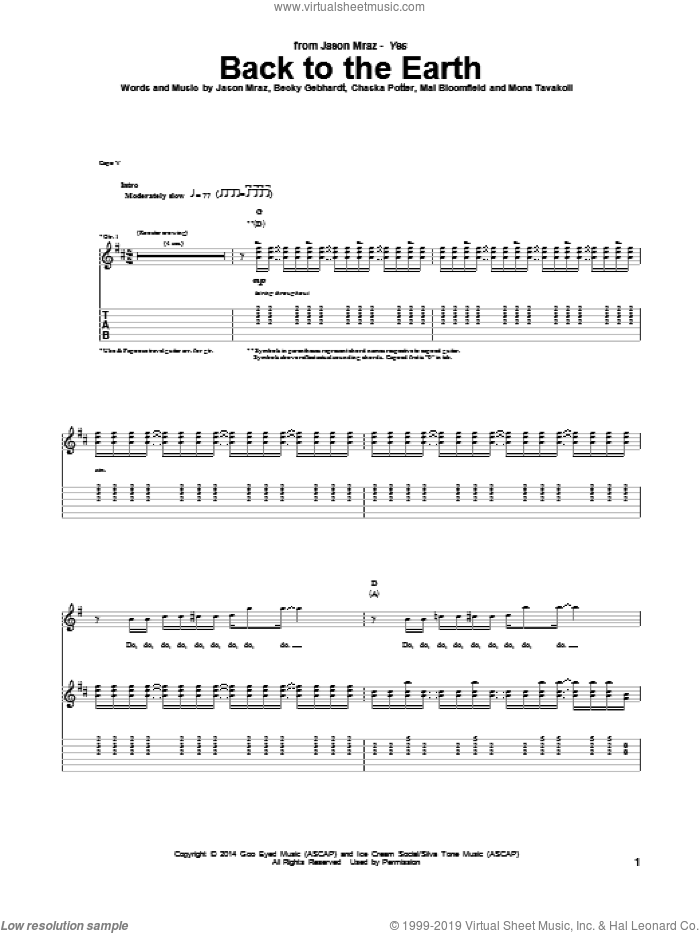 Back To The Earth sheet music for guitar (tablature) by Jason Mraz, Becky Gebhardt, Chaska Potter, Mai Bloomfield and Mona Tavakoli, intermediate skill level