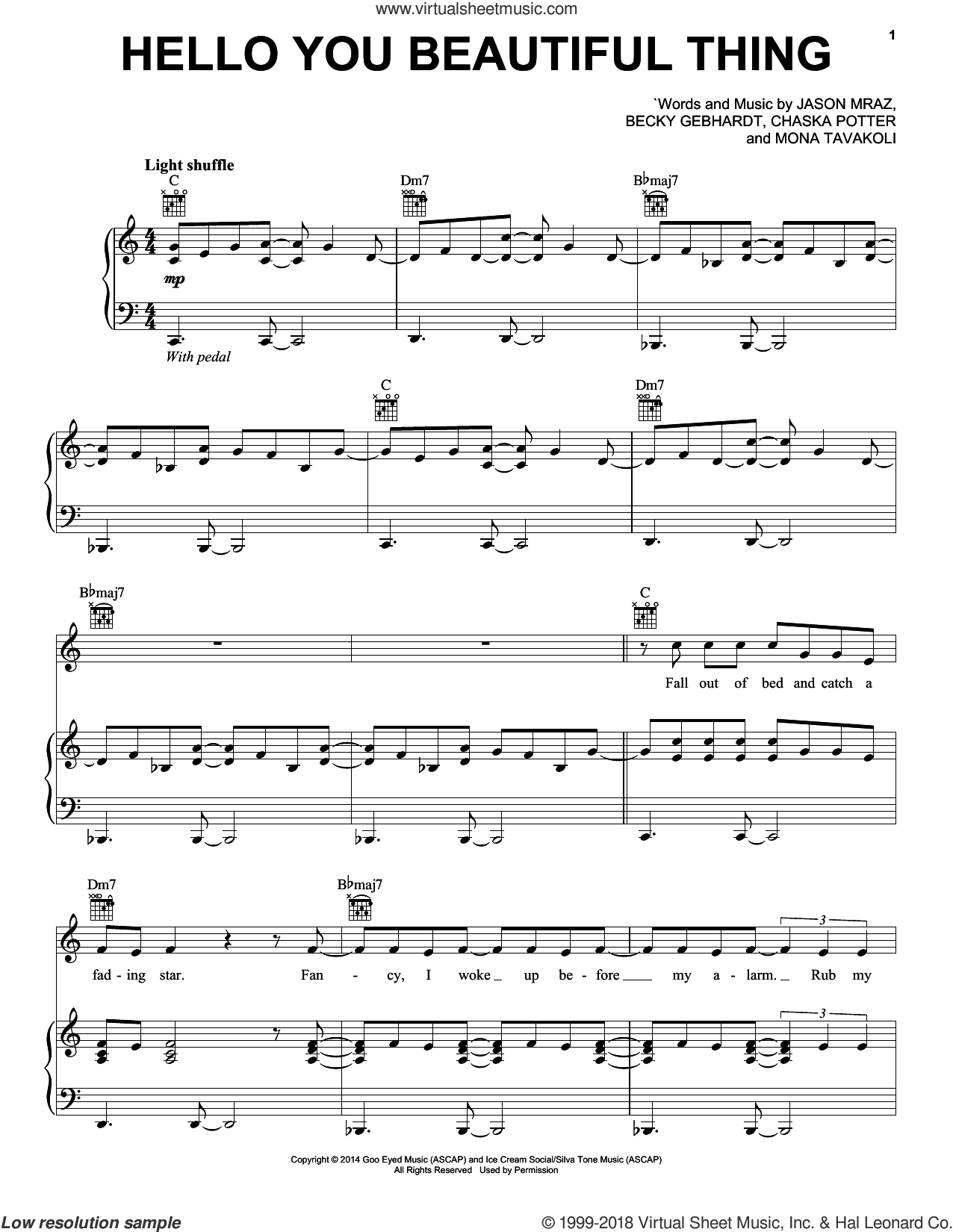 Hello You Beautiful Thing sheet music for voice, piano or guitar by Jason Mraz, Becky Gebhardt, Chaska Potter and Mona Tavakoli, intermediate skill level