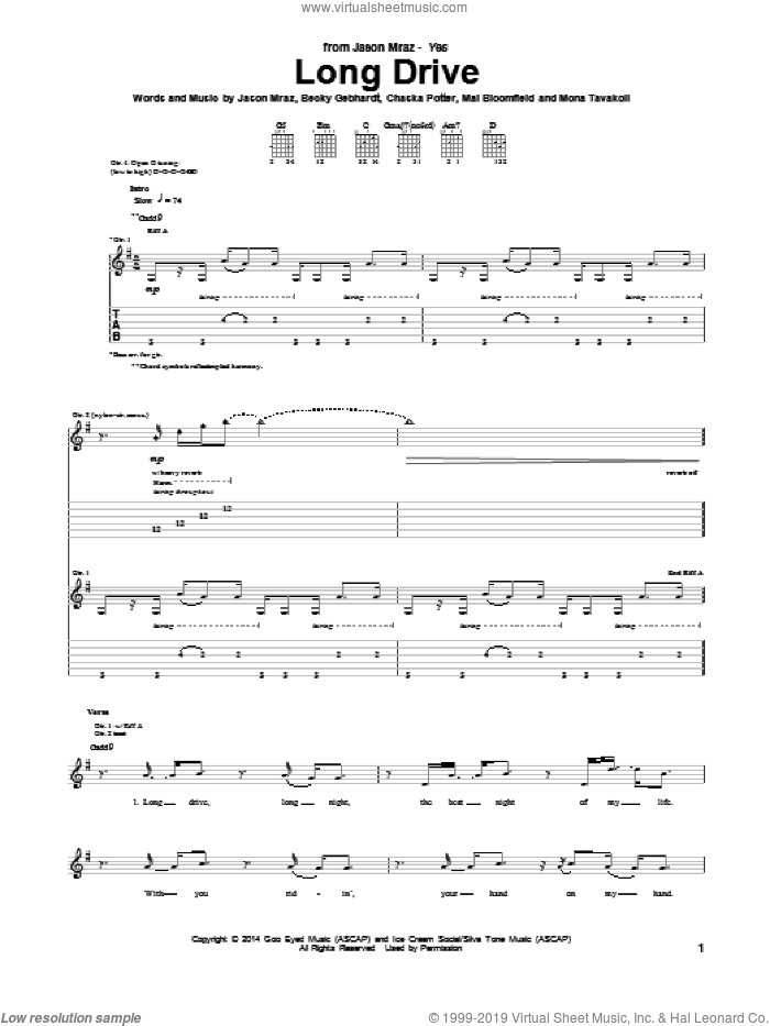 Long Drive sheet music for guitar (tablature) by Mona Tavakoli and Jason Mraz. Score Image Preview.