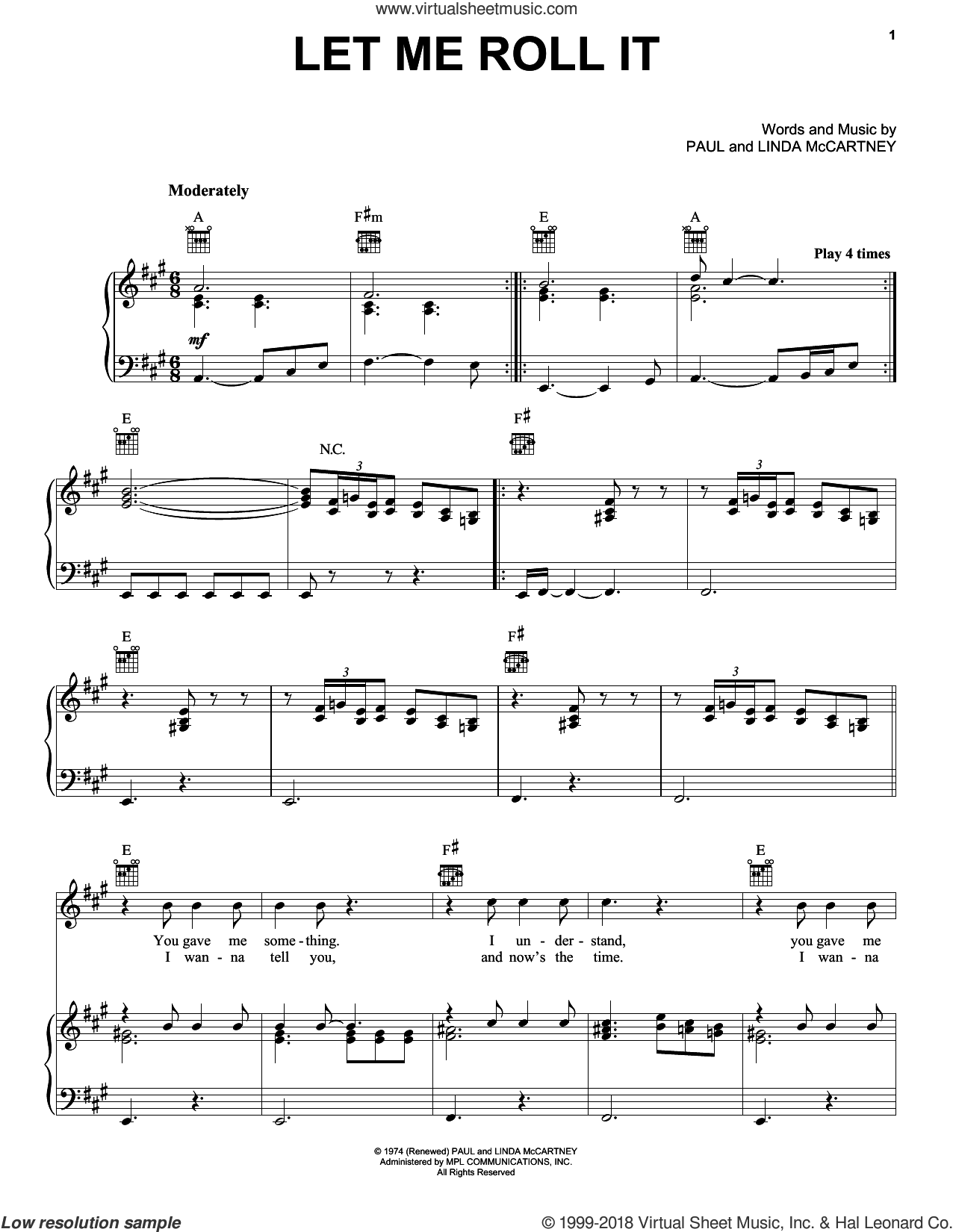 Let Me Roll It sheet music for voice, piano or guitar by Paul McCartney and Linda McCartney, intermediate skill level