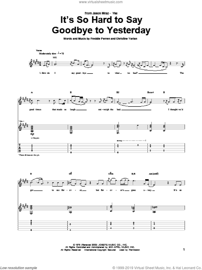 It's So Hard To Say Goodbye To Yesterday sheet music for guitar (tablature) by Jason Mraz, Boyz II Men, Christine Yarian and Frederick Perren, intermediate