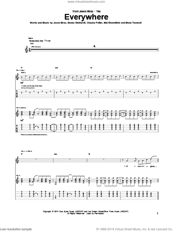 Everywhere sheet music for guitar (tablature) by Mona Tavakoli and Jason Mraz. Score Image Preview.
