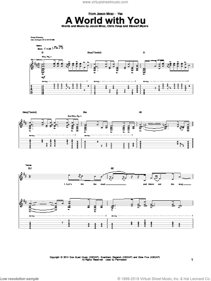 A World With You sheet music for guitar (tablature) by Jason Mraz. Score Image Preview.