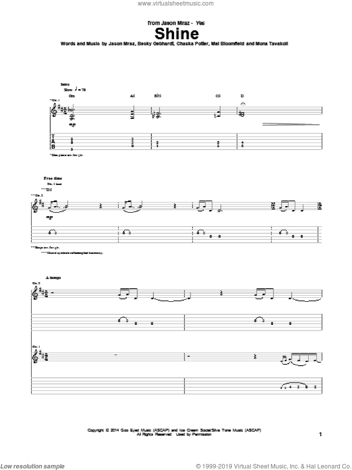 Shine sheet music for guitar (tablature) by Mona Tavakoli and Jason Mraz. Score Image Preview.