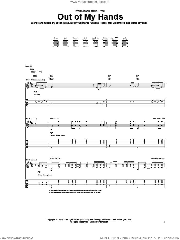 Out Of My Hands sheet music for guitar (tablature) by Jason Mraz, intermediate. Score Image Preview.