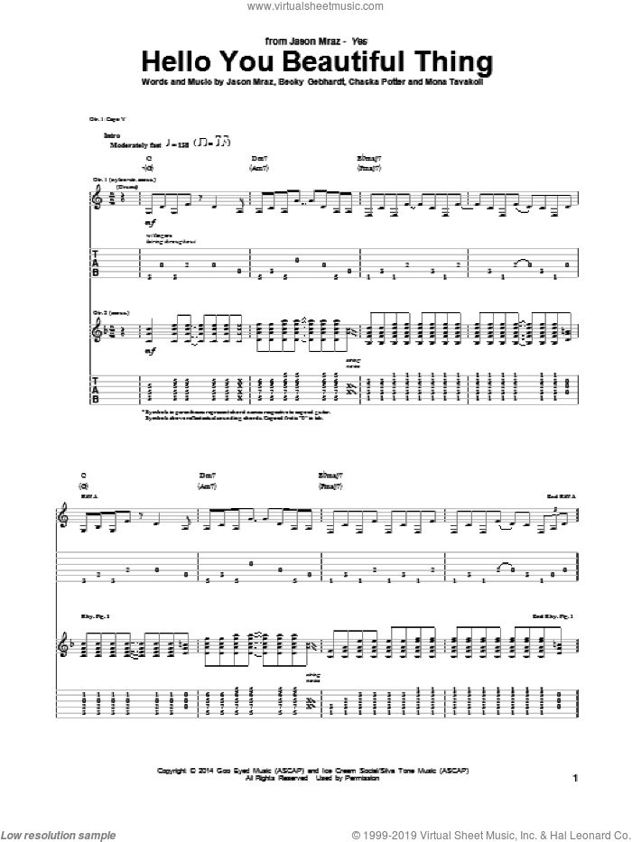 Hello You Beautiful Thing sheet music for guitar (tablature) by Mona Tavakoli and Jason Mraz. Score Image Preview.