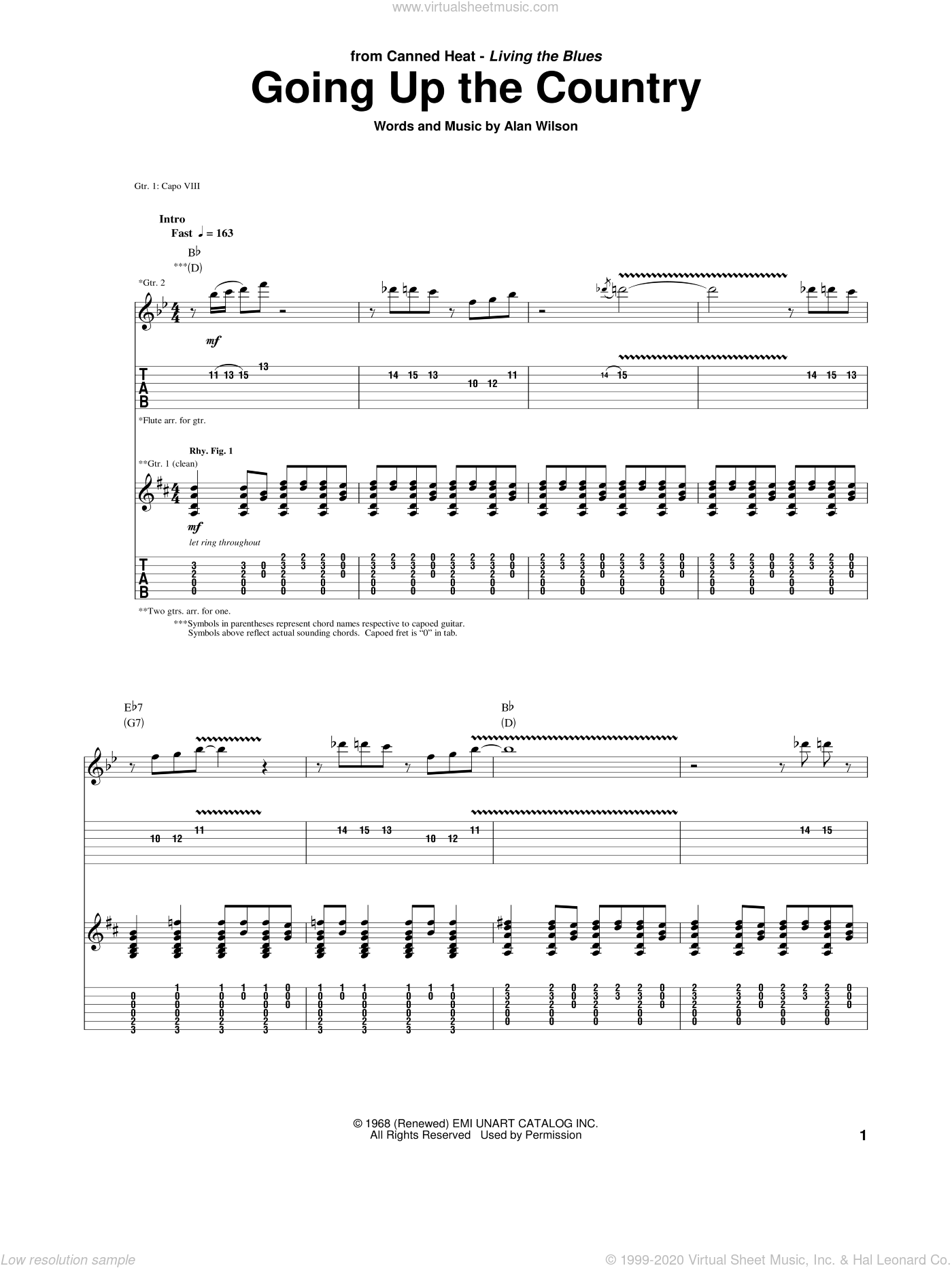 Going Up The Country sheet music for guitar (tablature) by Alan Wilson and Canned Heat. Score Image Preview.