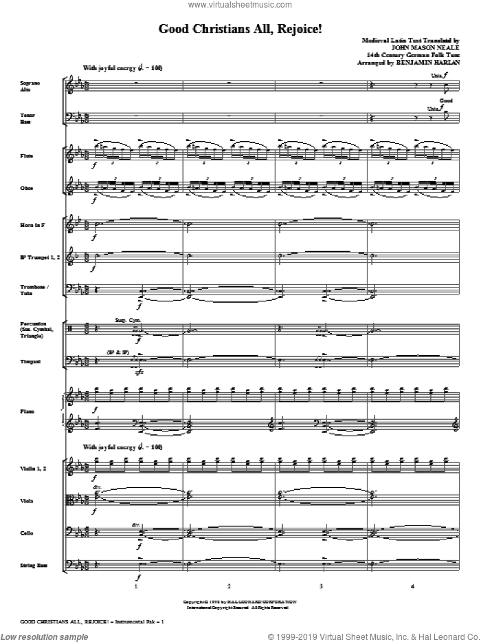 Good Christians All, Rejoice! (complete set of parts) sheet music for orchestra/band (Orchestra) by Benjamin Harlan, German Folk Tune, John Mason Neale and Medieval Latin, intermediate skill level