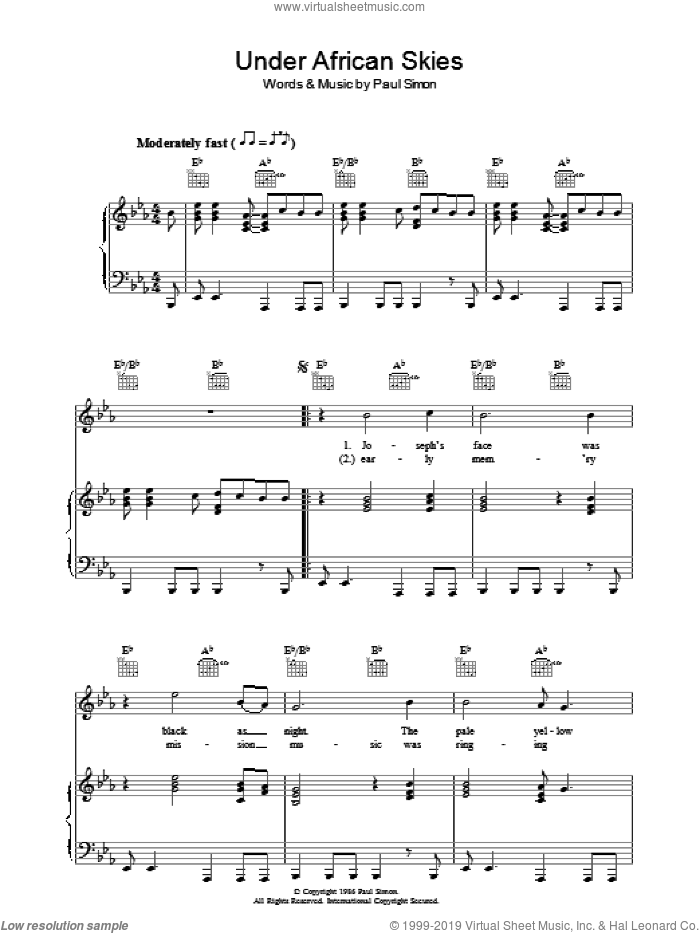 Under African Skies sheet music for voice, piano or guitar by Paul Simon. Score Image Preview.