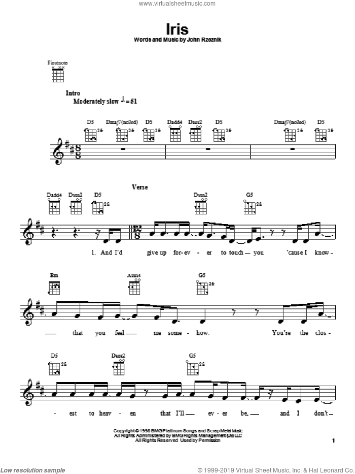 Dolls - Iris sheet music for ukulele [PDF]