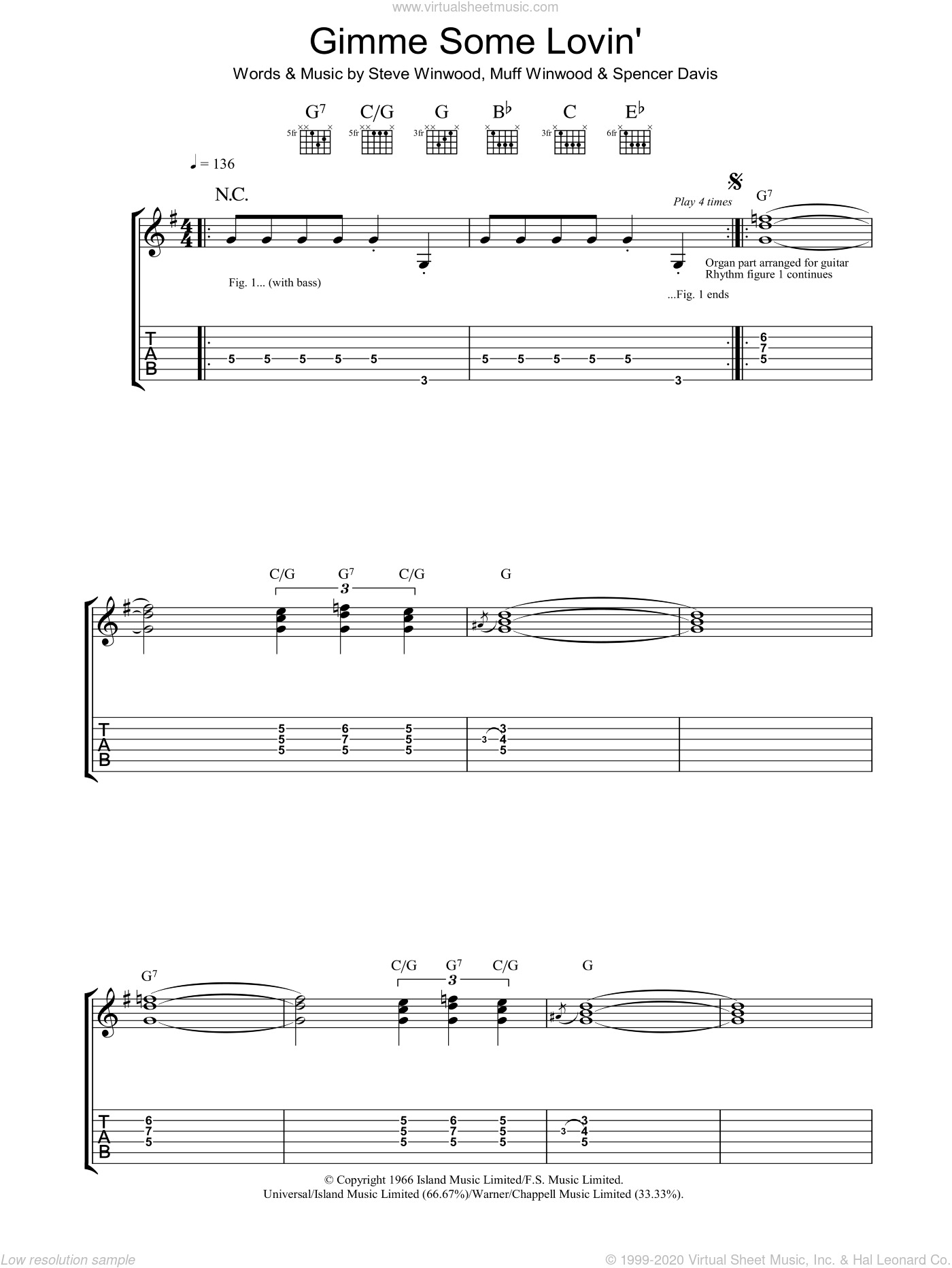 Gimme Some Lovin' sheet music for guitar solo (tablature) by Spencer Davis