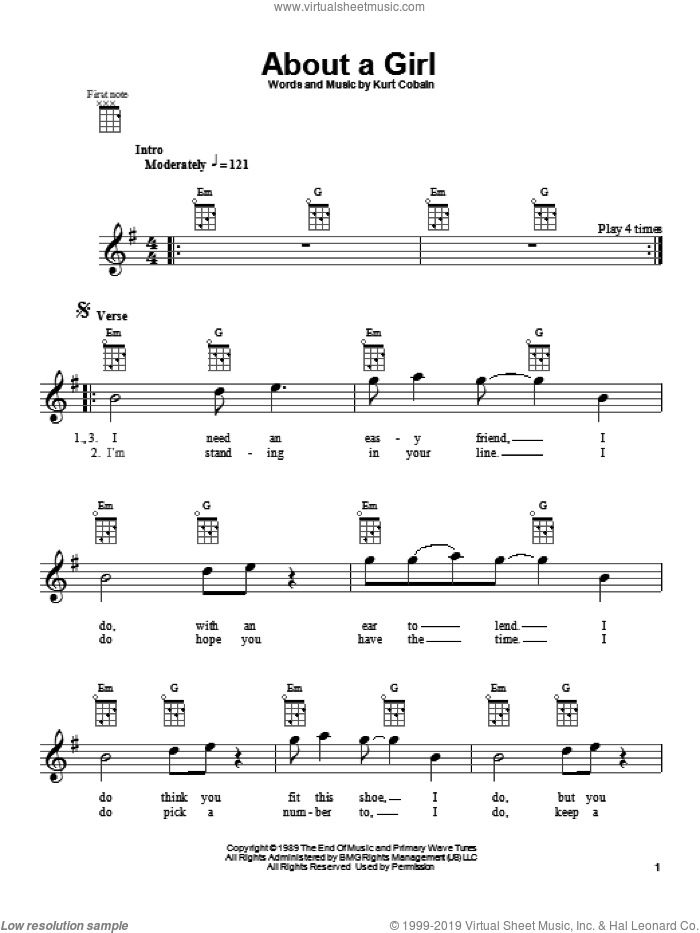About A Girl sheet music for ukulele by Kurt Cobain and Nirvana. Score Image Preview.