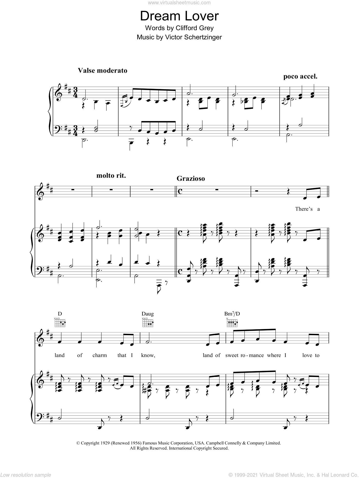 Dream Lover sheet music for voice, piano or guitar by Clifford Grey and Victor Schertzinger. Score Image Preview.