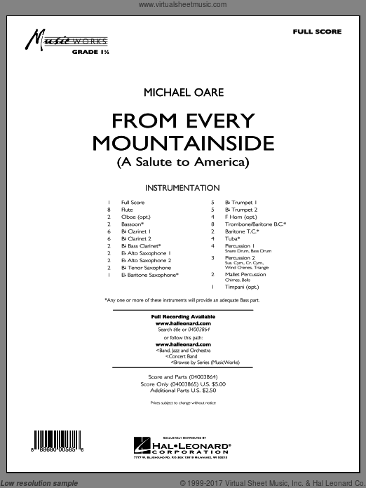 From Every Mountainside (A Salute to America) (COMPLETE) sheet music for concert band by Michael Oare