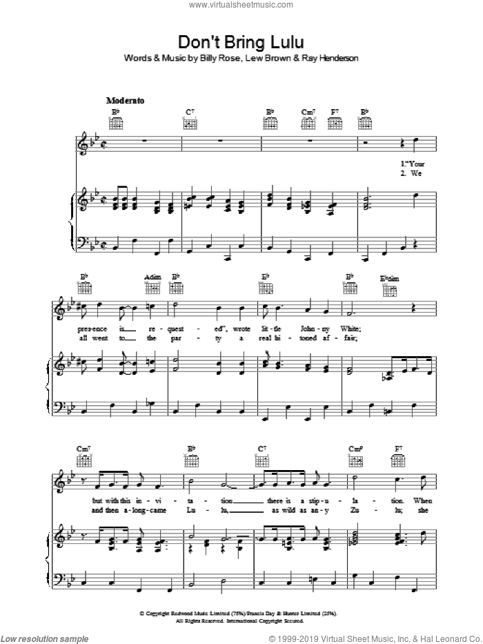 Don't Bring Lulu sheet music for voice, piano or guitar by Lew Brown and Ray Henderson. Score Image Preview.
