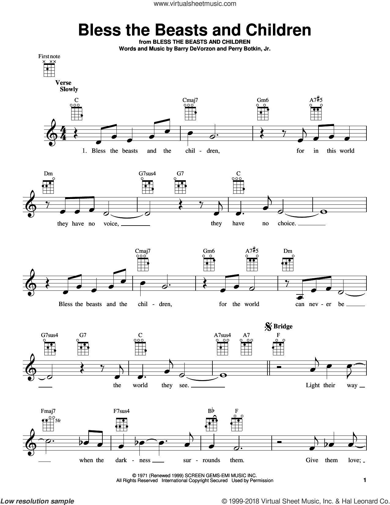 Bless The Beasts And Children sheet music for ukulele by Perry Botkin, Jr., Carpenters and Barry DeVorzon, intermediate skill level