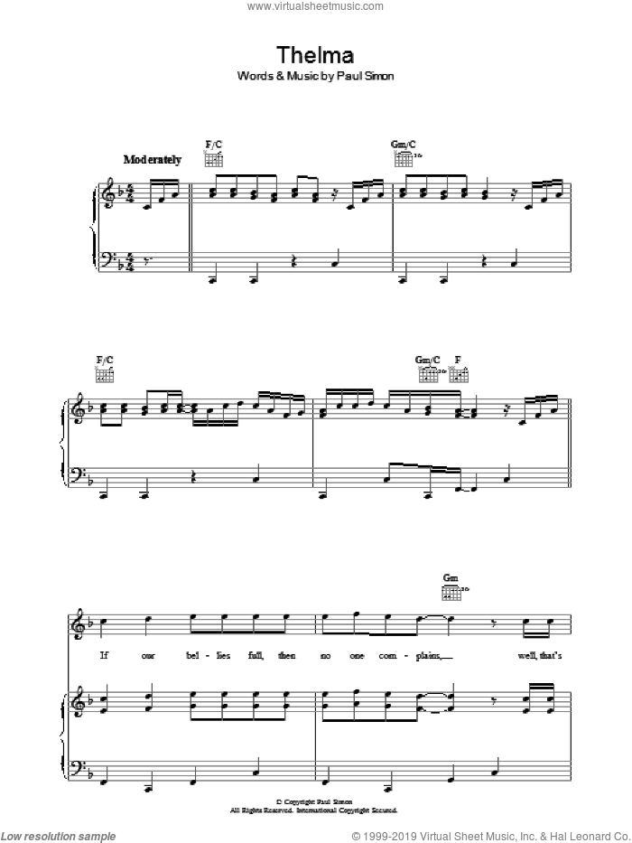 Thelma sheet music for voice, piano or guitar by Paul Simon, intermediate voice, piano or guitar. Score Image Preview.